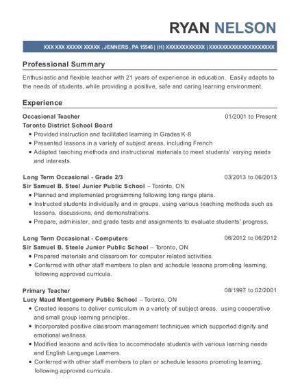 toronto district school board occasional teacher resume sample