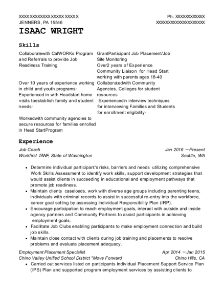 Isaac Wright  After School Program Resume
