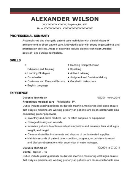 alexander wilson - Dialysis Technician Resume