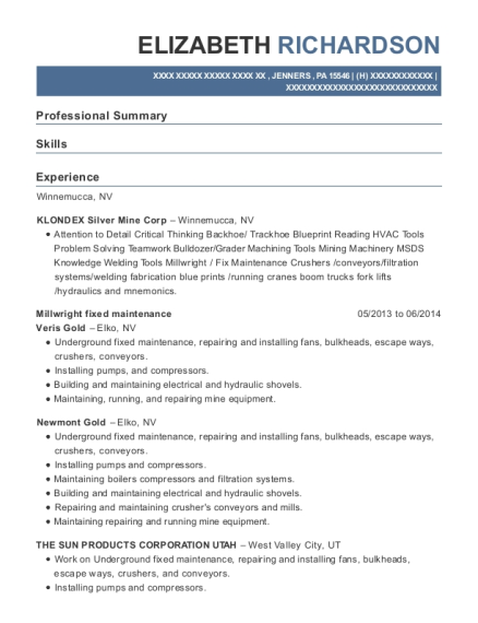 Klondex silver mine corp millwright fixed maintenance resume sample view resume millwright fixed maintenance malvernweather Image collections
