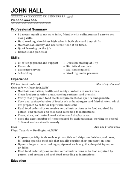 View Resume Kitchen Hand And Cook