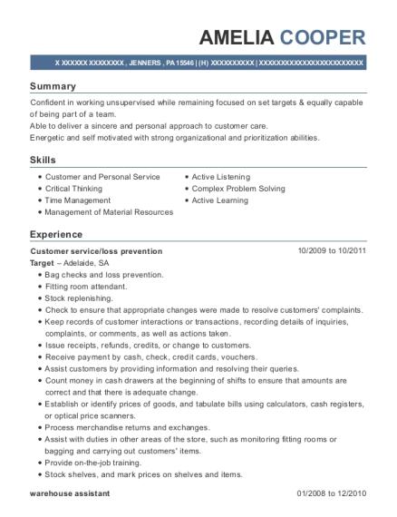 Best Customer Serviceloss Prevention Resumes ResumeHelp