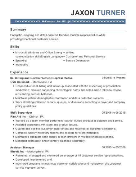 Cvs Caremark Sr Billing And Reimbursement Representative Resume