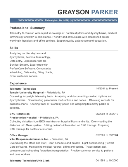 unit clerk resume