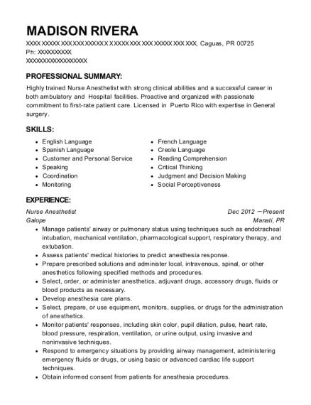 madison rivera - Nurse Anesthetist Resume