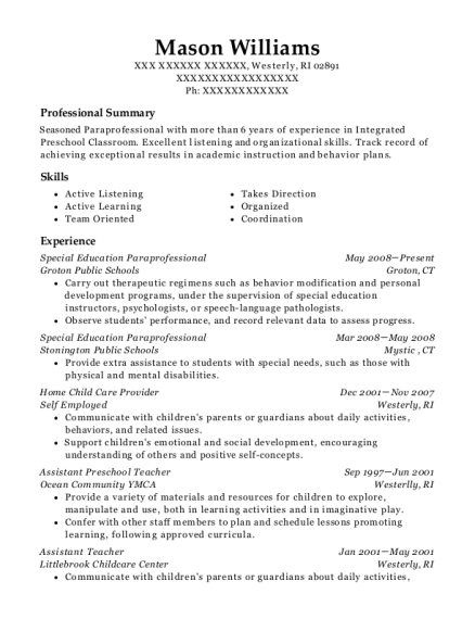 best special education paraprofessional resumes resumehelp