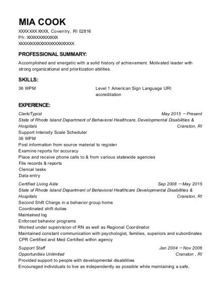 mia cook - Typist Resume