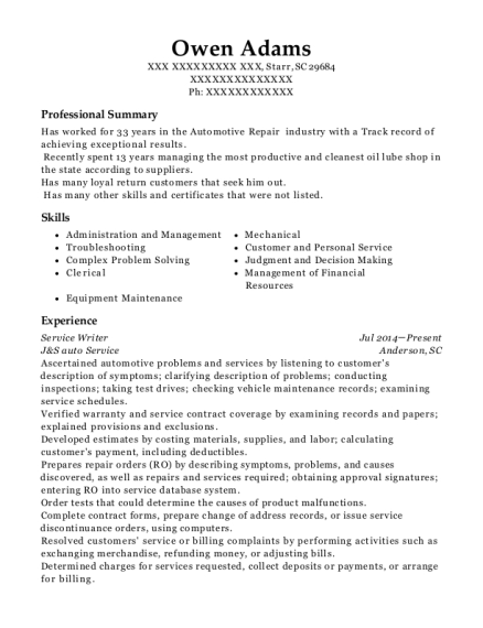 Bob Chapman Ford Automotive Service Manager Resume Sample - Delaware ...