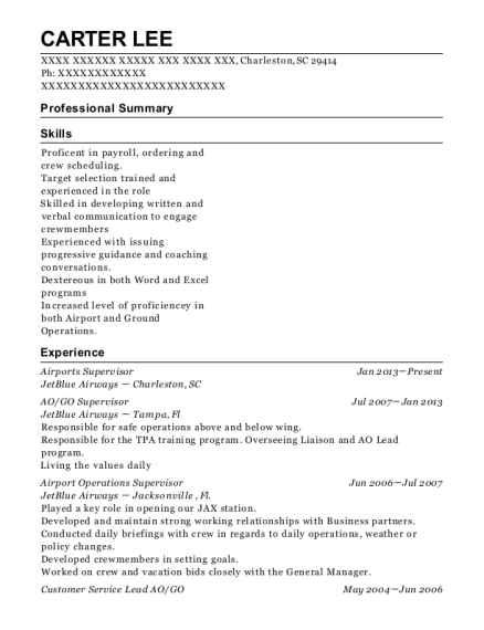 View Resume Airports Supervisor