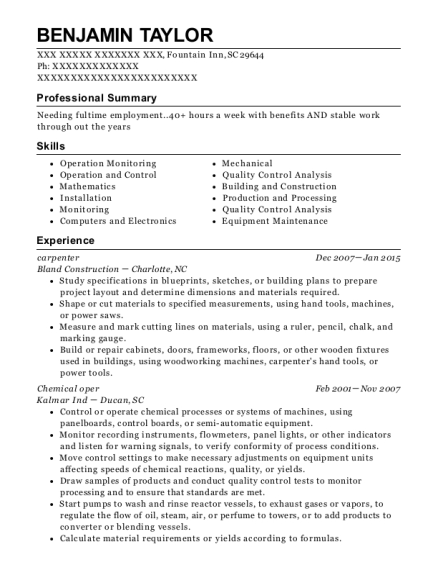 Chemical Operator , Millwright. Customize Resume · View Resume
