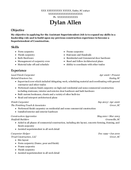 Finish Carpenter Resume