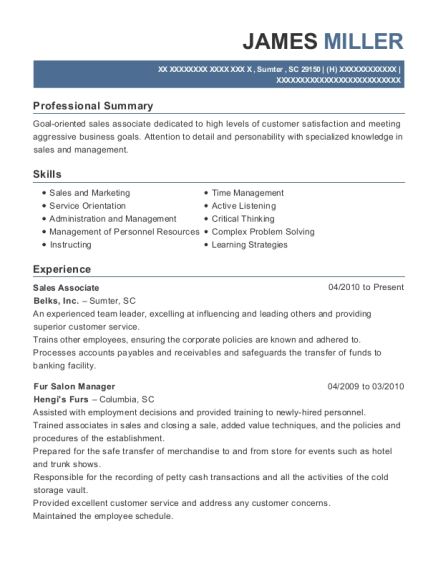 James Miller  Salon Manager Resume