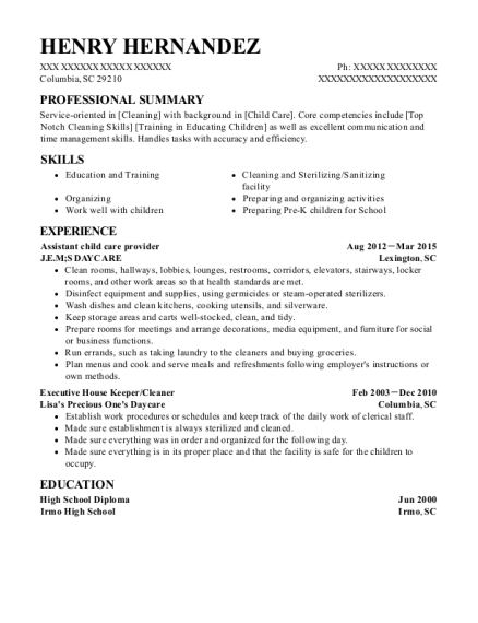 jem assistant child care provider resume sample columbia south