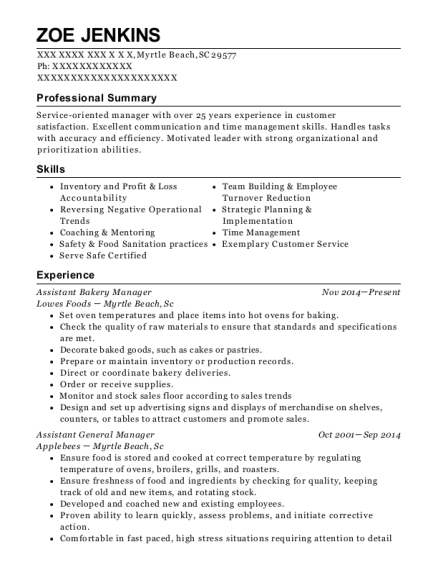 bakery manager resumes