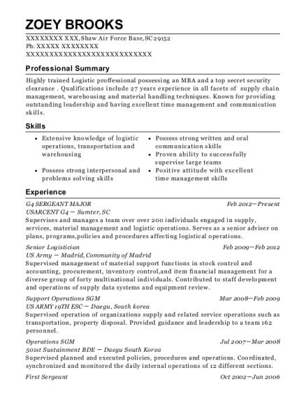 best senior logistician resumes resumehelp