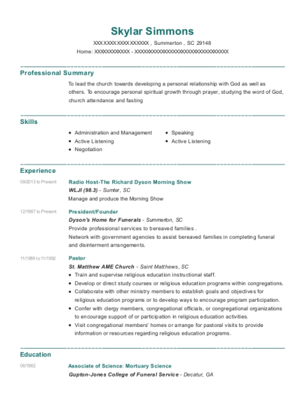 view resume - Resume For Mortuary Science