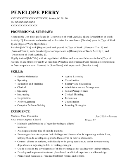 Dynamic positioning operator sample resume