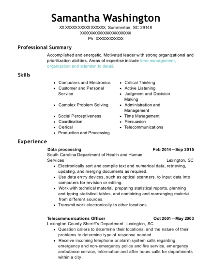 View Resume. Data Processing