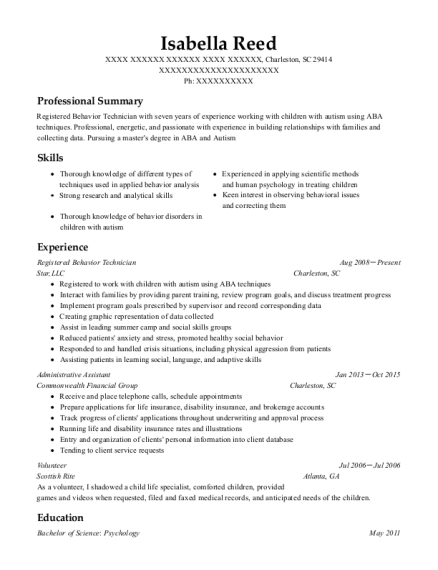Best Registered Behavior Technician Resumes Resumehelp