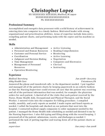 view resume - Data Processor Resume