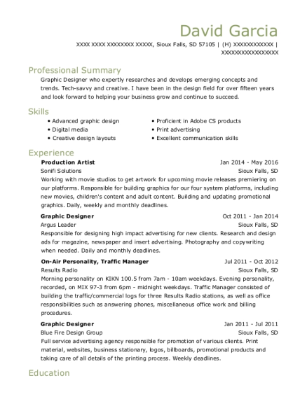 graphics production artist resume