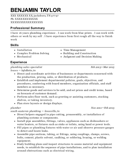 roto rooter plumbing resume sample