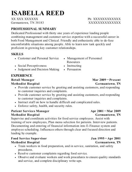 Best Food Service Supervisor Resumes ResumeHelp
