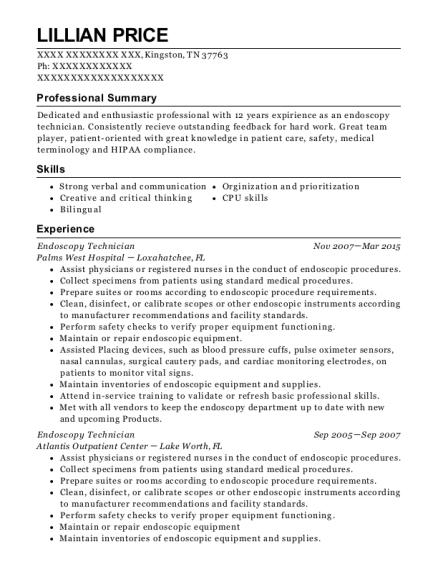 Endoscopy Technician Resume Samples  JobHero