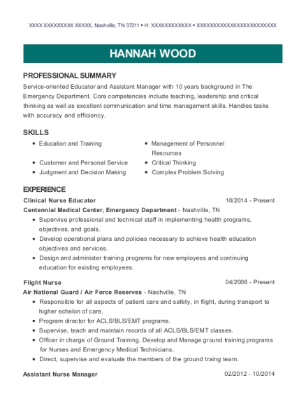 Hannah Wood  Assistant Nurse Manager Resume