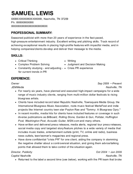 Best Junior Publicist Resumes | ResumeHelp