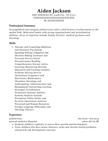 best pediatrician resumes resumehelp