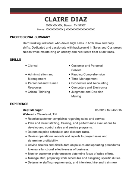 walmart department manager resume