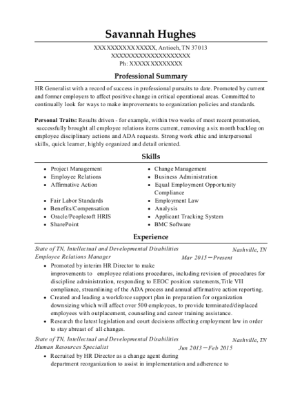 savannah hughes - Employee Relation Manager Resume