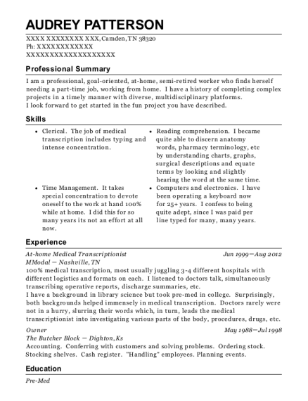 95+ Transcriptionist Resume - Medical Transcriptionist