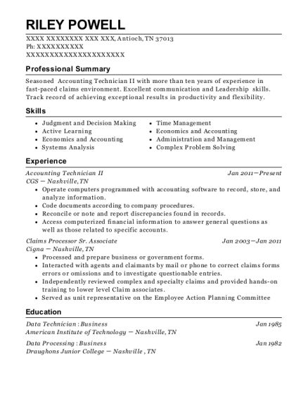 Best Accounting Technician Ii Resumes | ResumeHelp