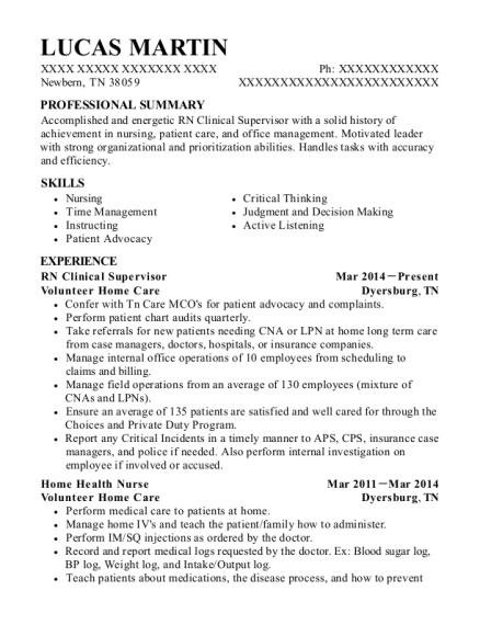 view resume rn clinical supervisor - Med Surg Nursing Resume