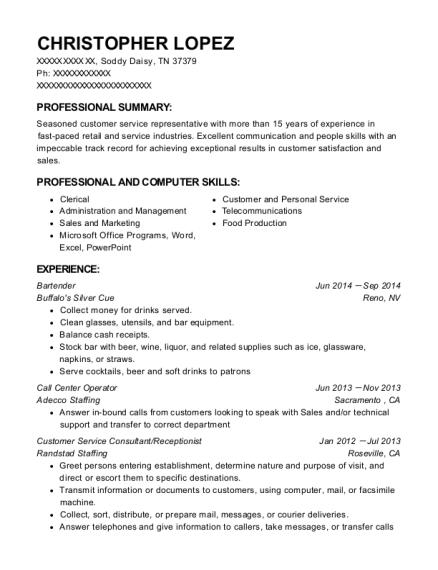 Best Customer Service Consultant/receptionist Resumes | ResumeHelp
