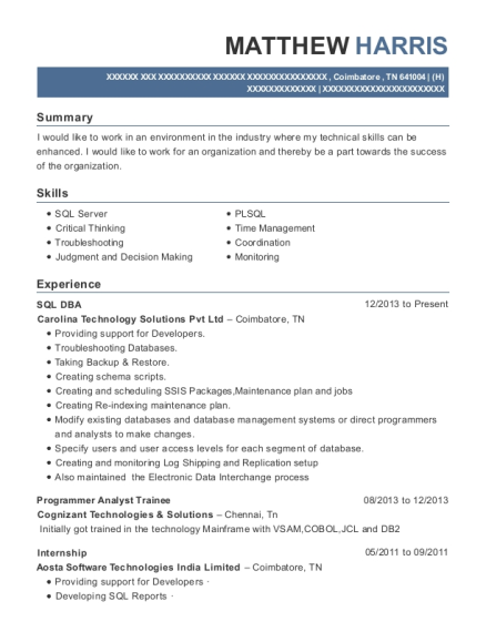 Carolina Technology Solutions Pvt Ltd Sql Dba Resume Sample ...