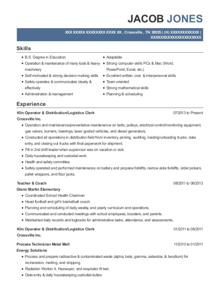 Crossville Inc Kiln Operator & Distribution Resume Sample ...