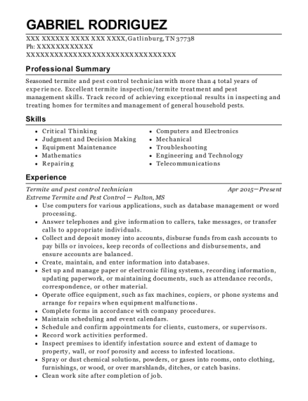 pest control resume sample