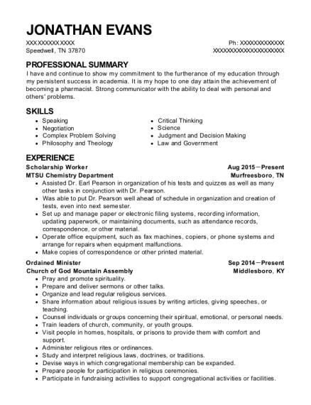 Ministry resume help