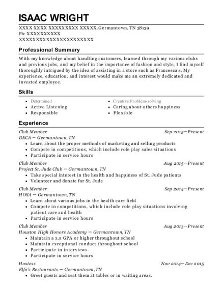 deca club member resume sample