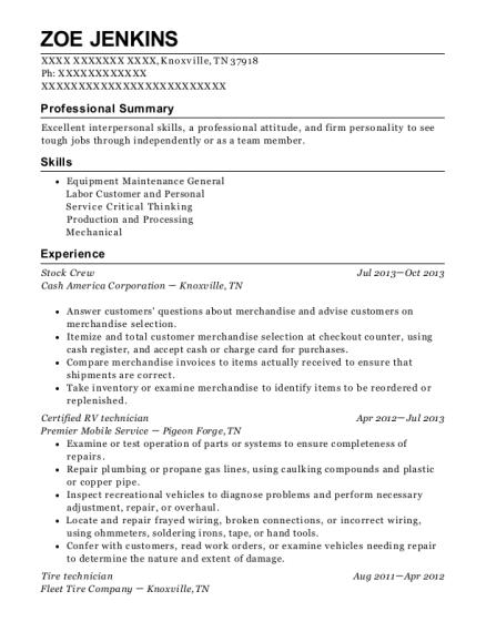 best certified rv technician resumes resumehelp