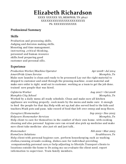 elizabeth richardson - Homemaker Resume Samples