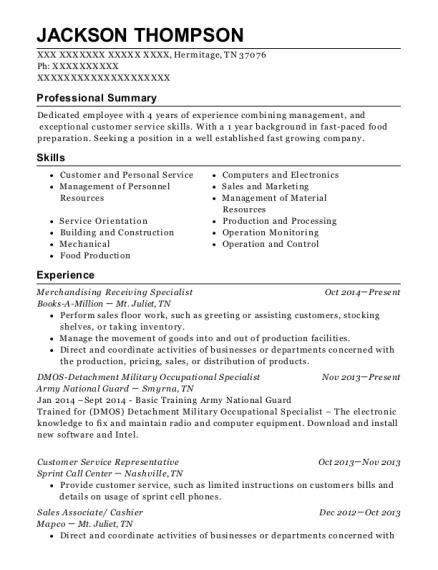 Books A Million Merchandising Receiving Specialist Resume Sample ...
