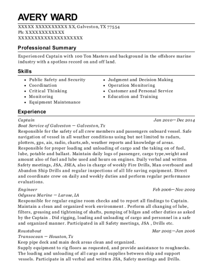 Roustabout resume