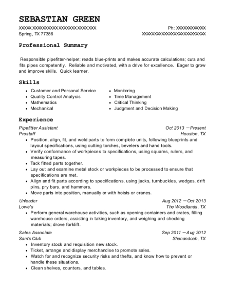 View Resume Pipefitter Assistant