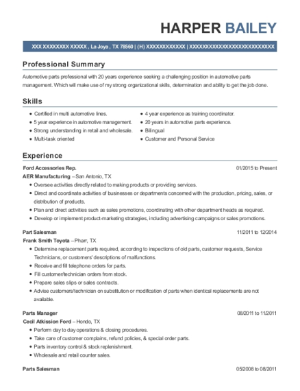 harper bailey - Parts Manager Resume