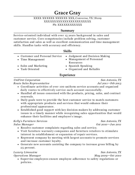 unifirst corporation route sales representative resume sample