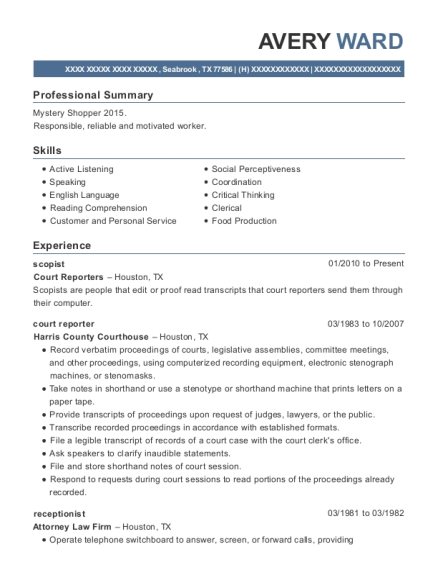 avery ward - Court Reporter Resume Samples